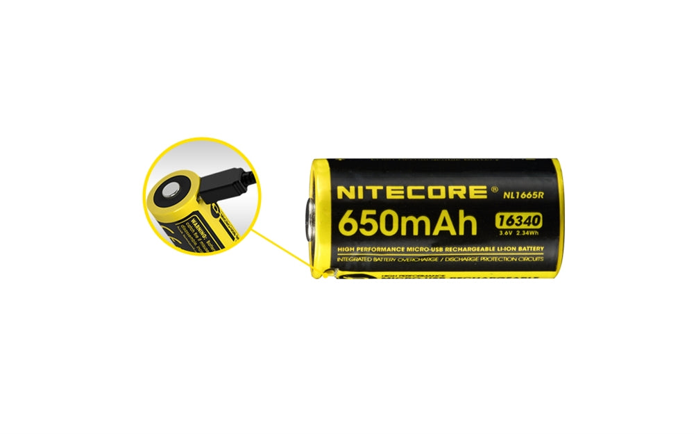 NITECORE - NL1665R 650mAh 16340 Built-in Micro-USB Rechargeable Li-ion Battery with Lumen Tactical Micro-USB to USB Charging Cable