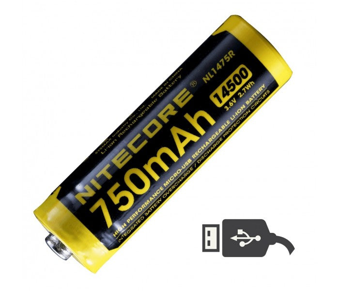 NITECORE - NL1475R 750mAh 14500 Built-in Micro-USB Rechargeable Li-ion Battery with Lumen Tactical Charging Cable