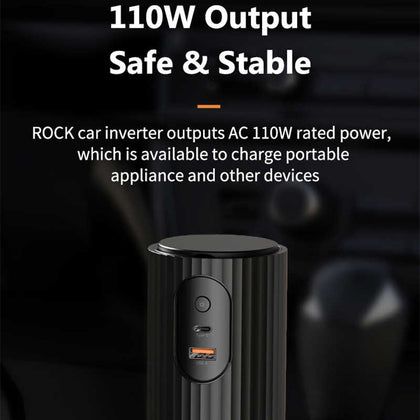 Rock - Car Inverter 12V DC TO AC 220V 110W Power Inverter for Car With QC3.0 PD3.0 Charger Adapter Car Power Supply