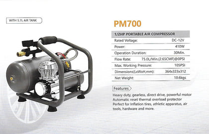 Volcano - 1/2HP DC12V Air Compressor with 5.7L Air Tank (PM700) - RVOD