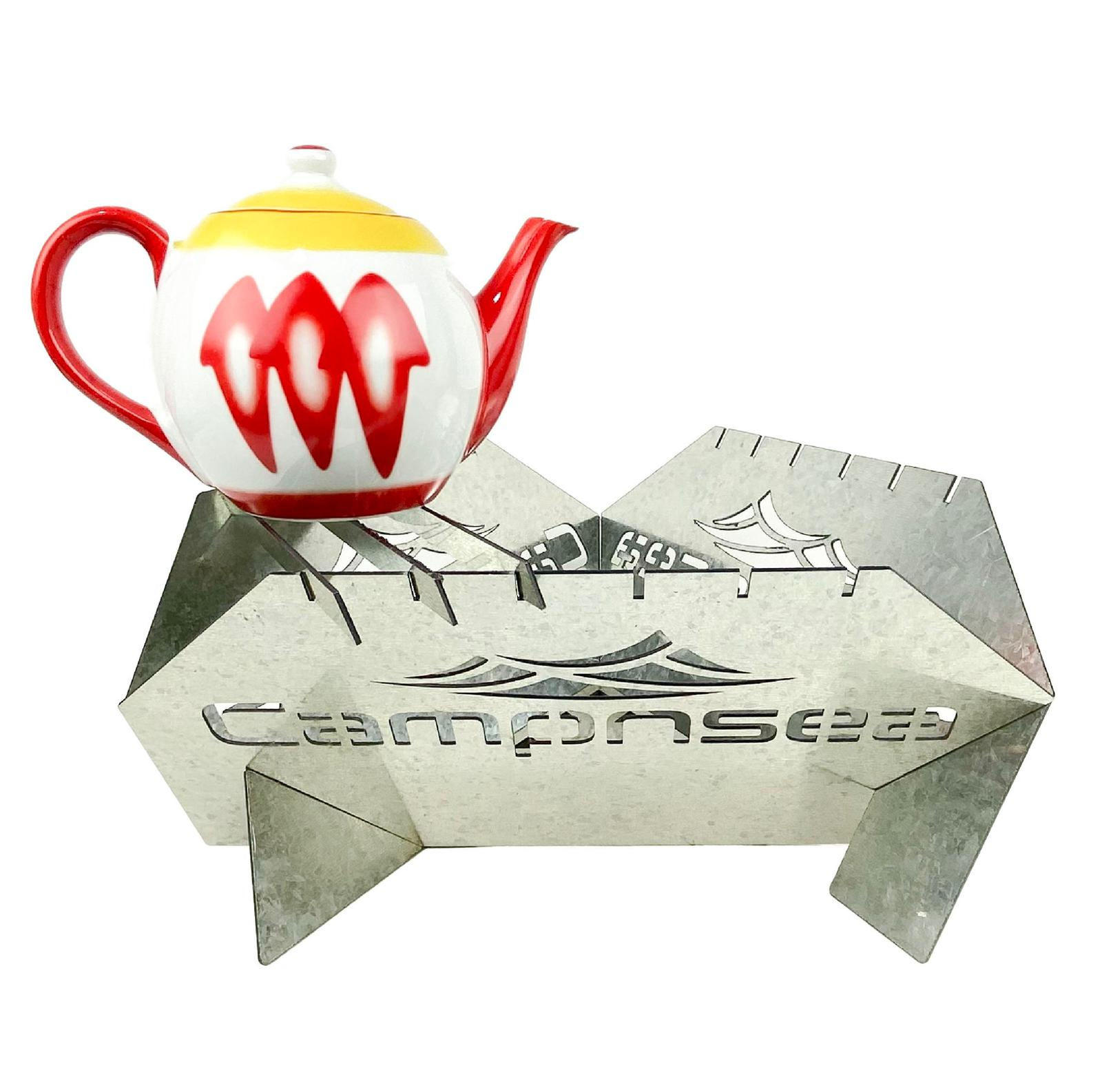 Campnsea - Galvanized Firepit with Kettle Stand & Carry Bag
