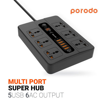 Porodo - Multi-Socket With Timer x6 AC Sockets 10A and x5 USB Outputs 33W QC 3.0