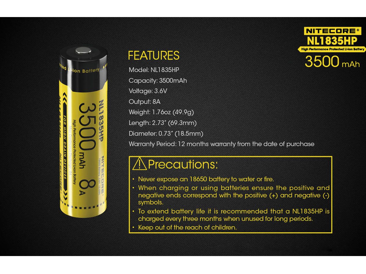 Nitecore - NL1835HP High Performance 18650 3.6v 8A Protected Battery x1