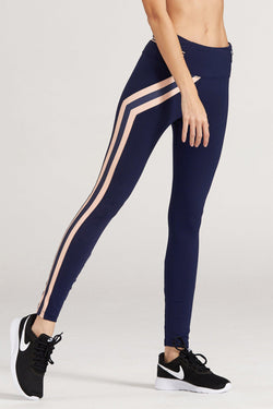 61177f1454824 LOA Striped Butt Lifting Blue Leggings - | Lotus On Air workout pants with cell  phone