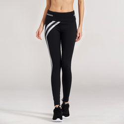 3b12bb8776 LOA Striped Enhancing Black Leggings - | Lotus On Air workout pants with  cell phone pocket