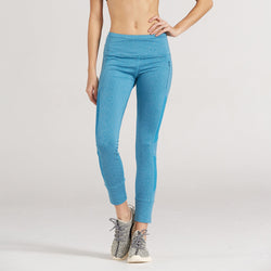1a934b291965e LOA High Waist Pocketed Casual Blue Capris - | Lotus On Air workout pants  with cell