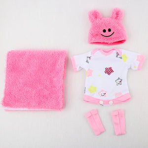 10 inches reborn baby dolls clothes pink / blue fashion jumper+blankets