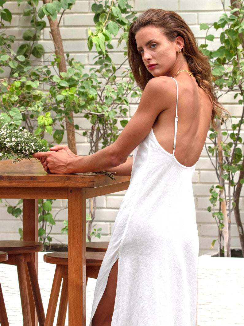 Willow Slip Dress Natural Linen