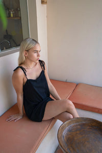 Autumn Dress Black Linen
