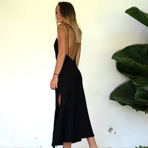 Willow Slip Dress Black Linen