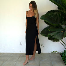 Load image into Gallery viewer, Willow Slip Dress Black Linen