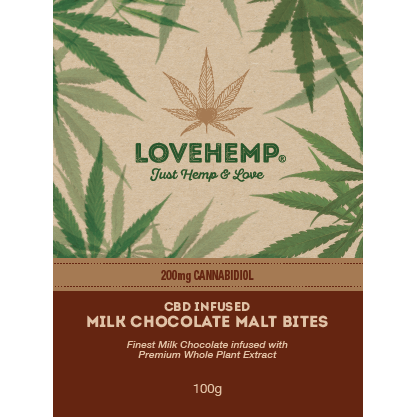 Love Hemp® CBD Malt Chocolate Bites 200mg CBD – 100g