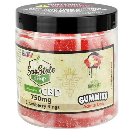 Sun State Strawberry Rings Gummies 750mg