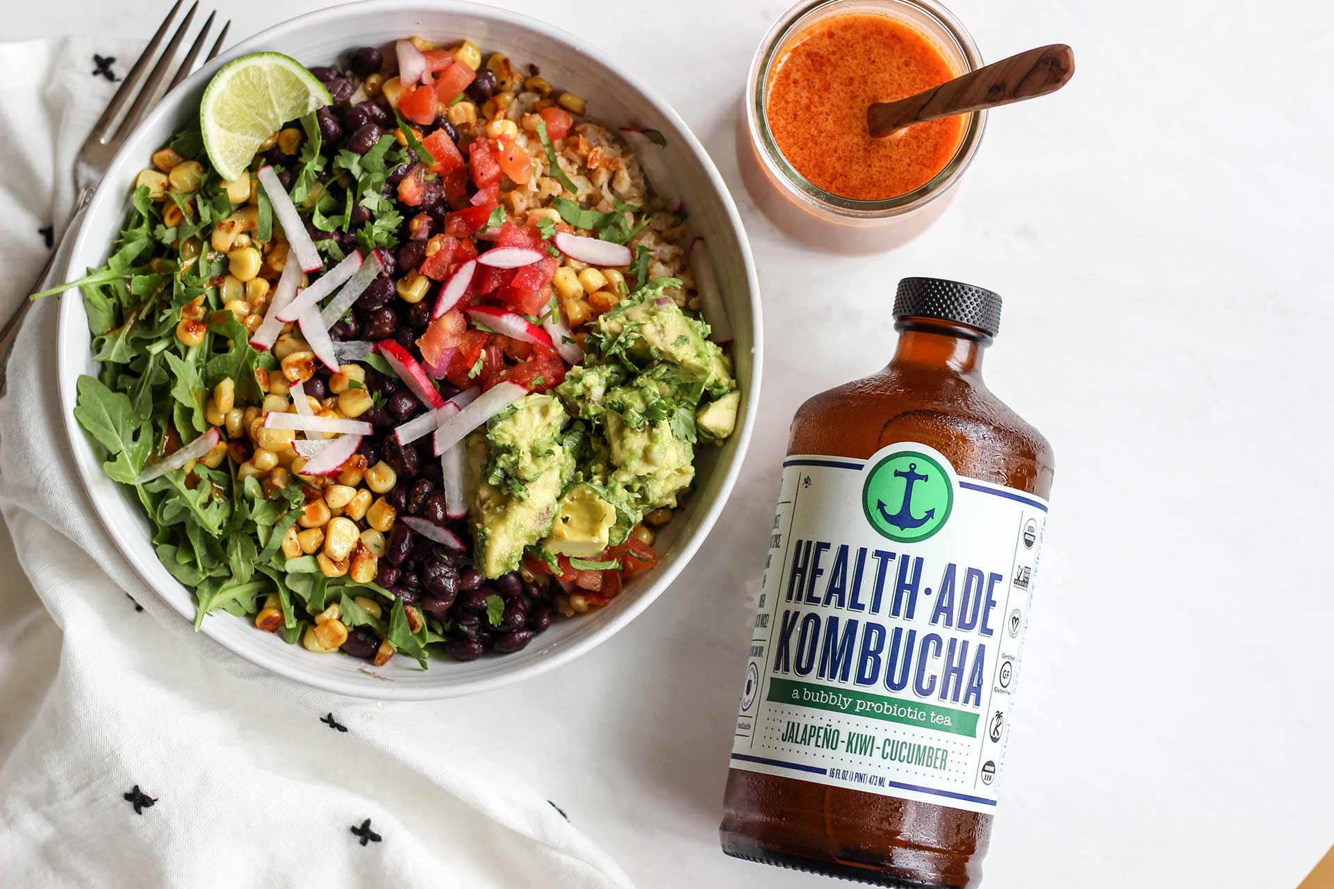 Our New Favorite Burrito Bowl with Chipotle Jalapeño Kombucha Dressing