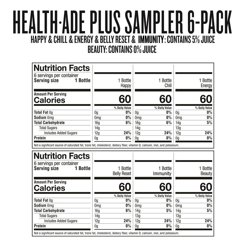 Health-Ade PLUS Sampler Pack Nutrition Facts