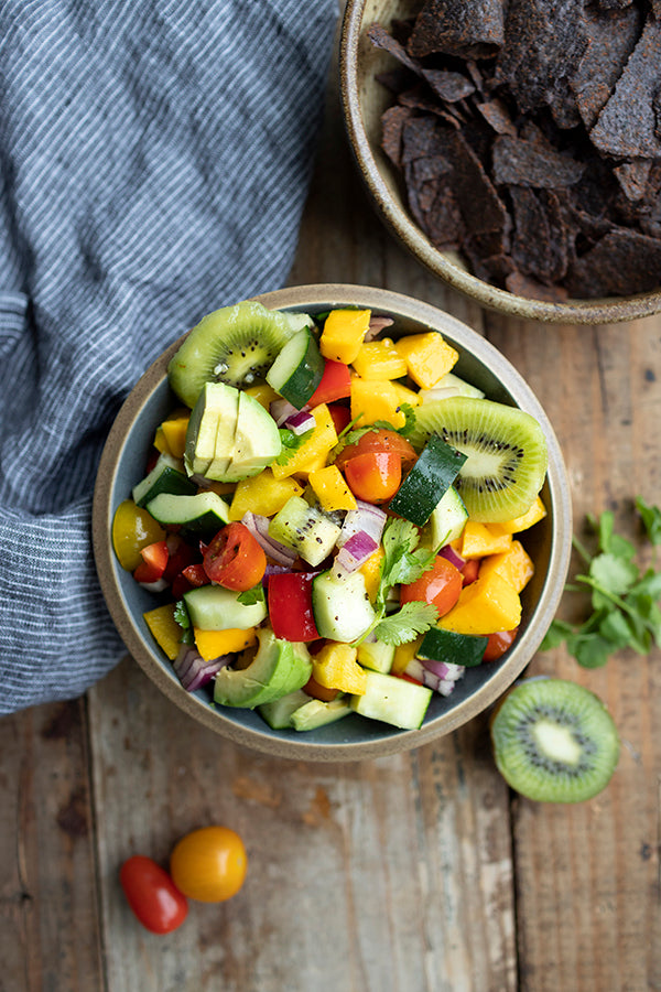 Image Alt Tag: Kiwi, Cucumber, and Mango Salsa Recipe for Summer Snacking, Anyone? | Health-Ade Kombucha