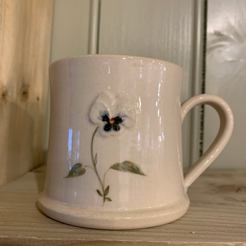 Hogben Pottery Pansy Mug on Chalk White