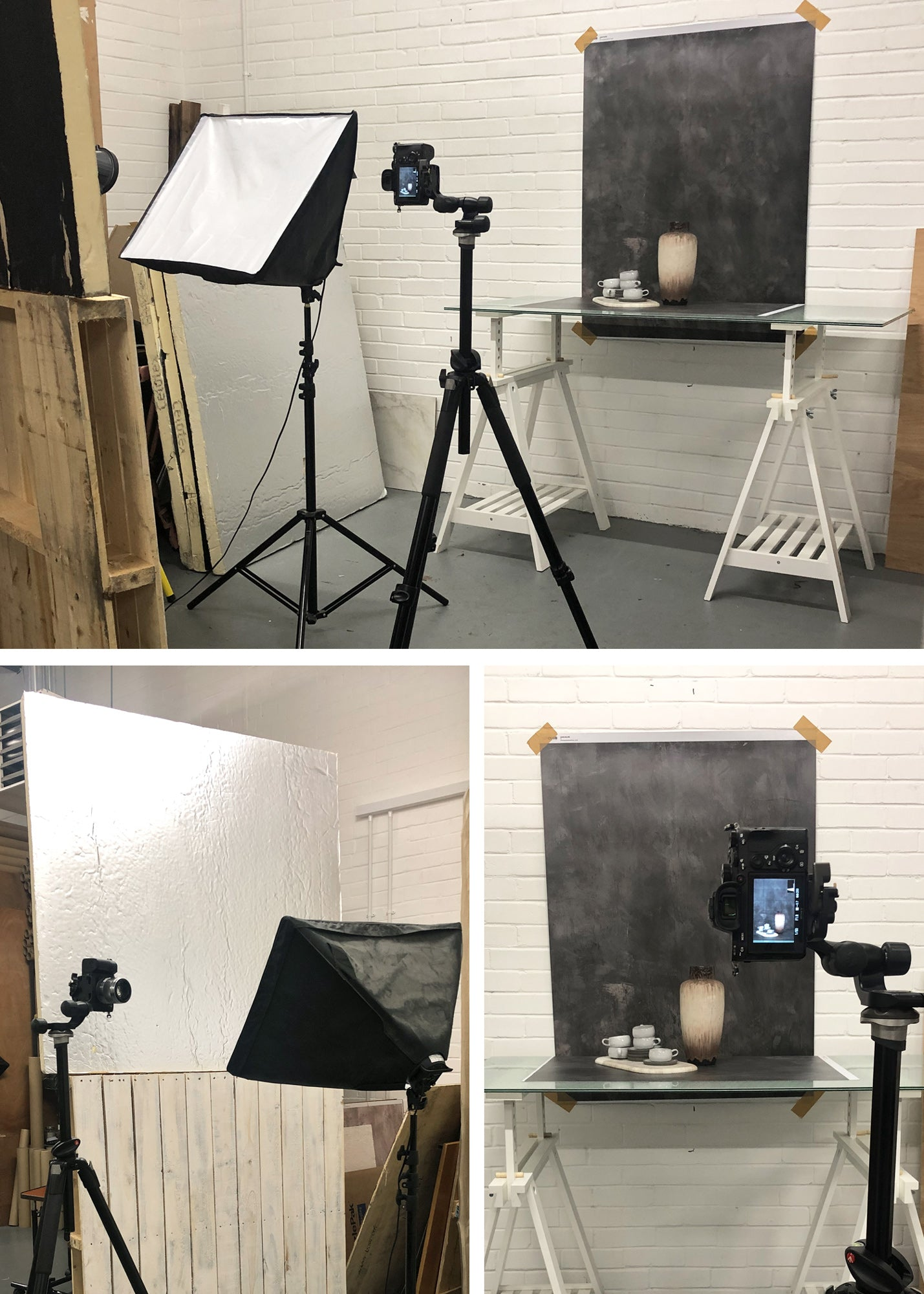 Indirect lighting for dark vinyl food and product photography