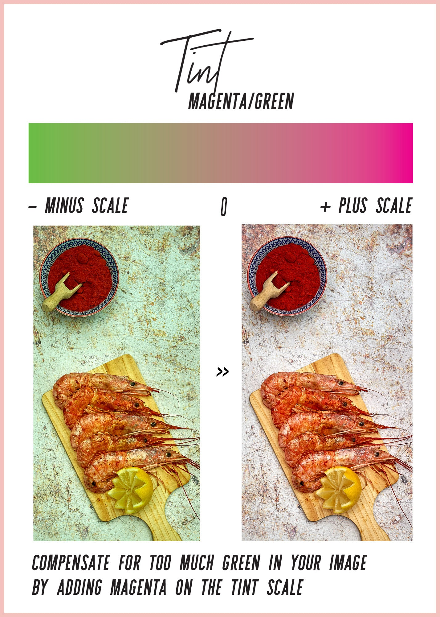Tint scale for correction of colour casts in food and product photography