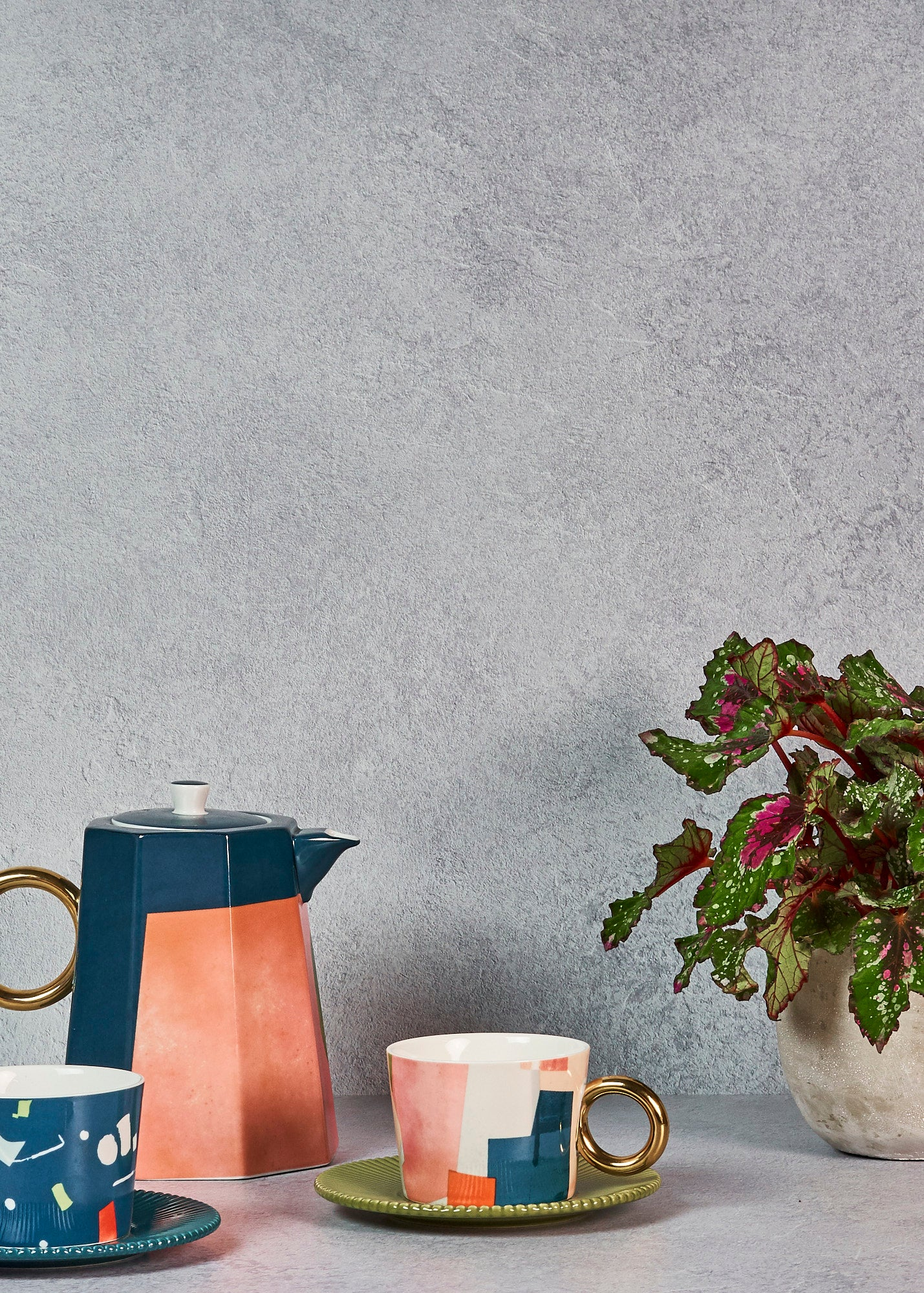 Concrete vinyl backdrop as wall and floor for still life