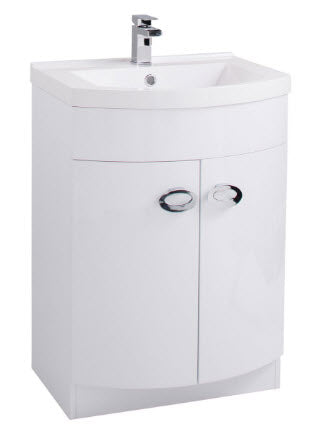 Pebble D Shaped White Gloss Basin Unit