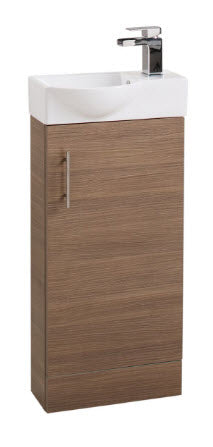 Medium Oak Single Door 400mm Basin and Unit