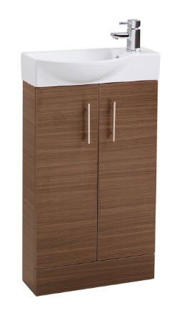 Walnut Double Door 500mm Basin and Unit