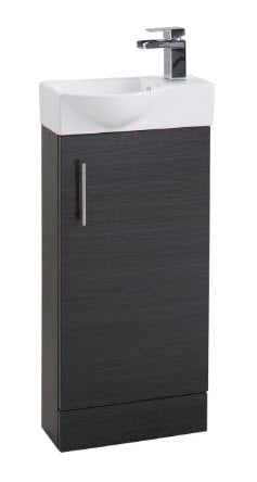 Black Ash Single Door 400mm Basin and Unit