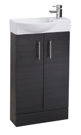 Black Ash Double Door 500mm Basin and Unit