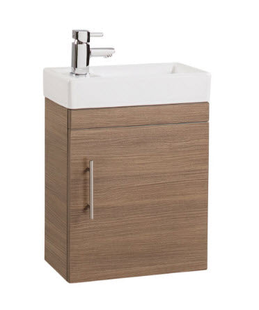 Medium Oak Single Door 400mm Wall Hung Basin and Unit