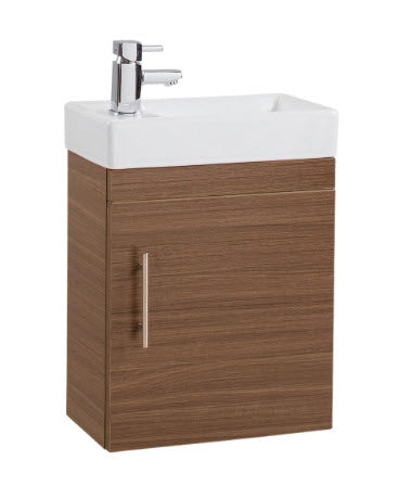 Walnut Single Door 400mm Wall Hung Basin and Unit