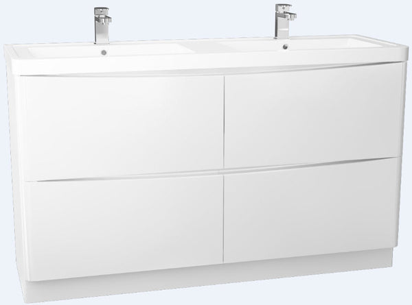 Bali Gloss White 1400 4 Draw Freestanding Double Basin cabinet