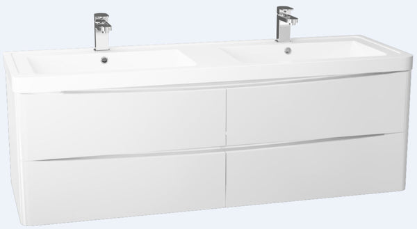 Bali Gloss White 1400 4 Draw Wall Mounted Double Basin Cabinet
