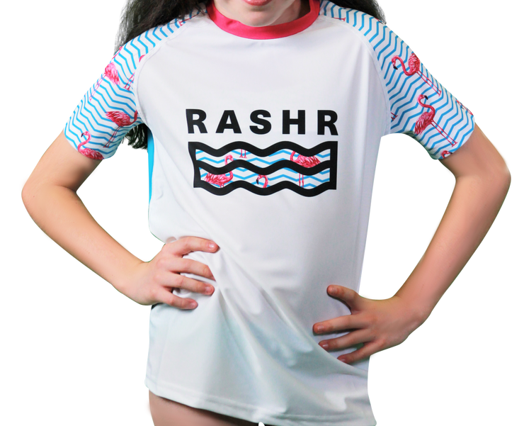 Le Flamingo Classique Girls Short Sleeve Rash Vest