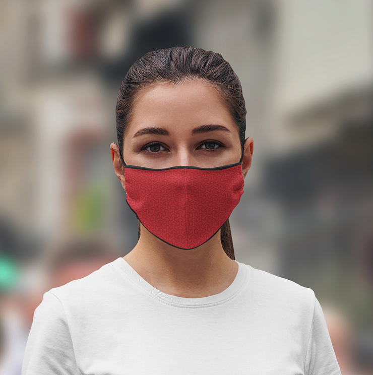 3 Layer Recycled Adjustable Red Face Mask with Filter (Due to Cov-19 we can not accept any returns)