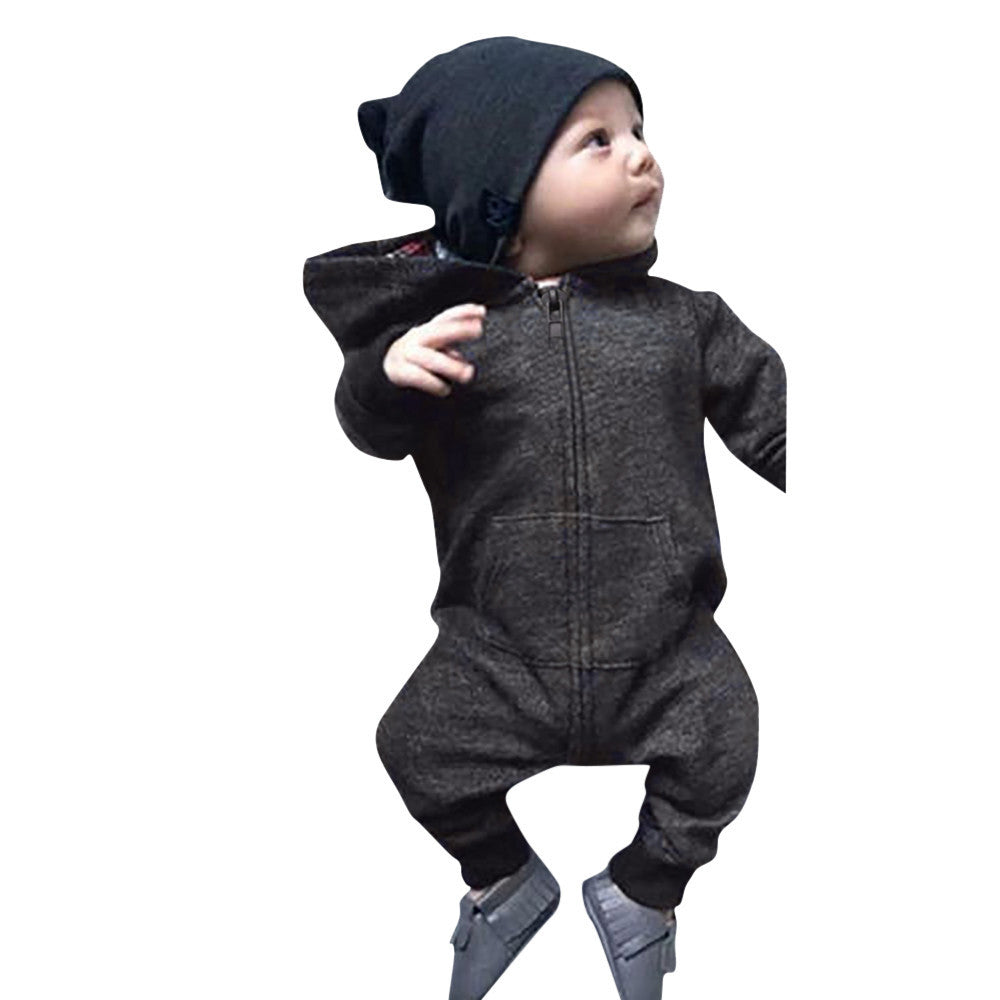 2f329f373e7 Newborn Infant Baby Boys Girls Romper Hooded Jumpsuit Bodysuit Clothes  Outfit ...