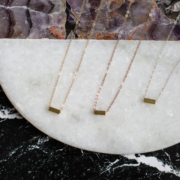 brass rectangle necklace