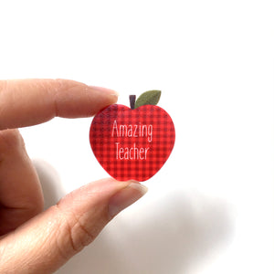 Amazing teacher lanyard pin - A is for apple