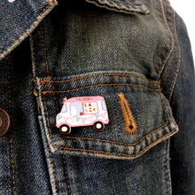 Load image into Gallery viewer, Ice cream van wooden pin - Cute summer badge