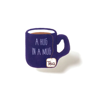 Hug in a mug tea lover brooch pin
