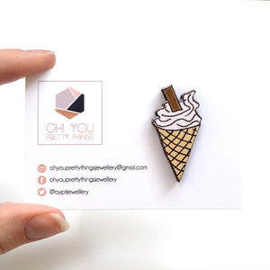 Ice cream cone wooden pin - Great gift for girls