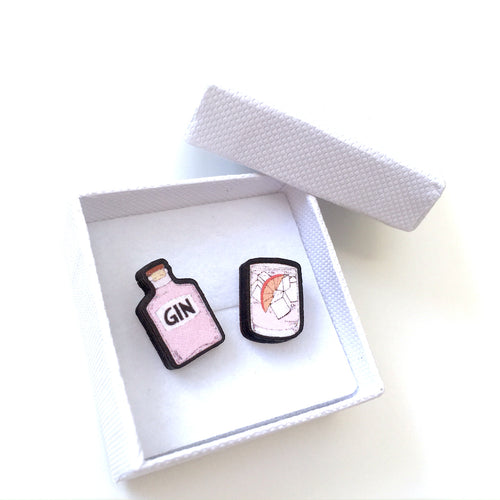 Pink gin and tonic mismatch stud earrings
