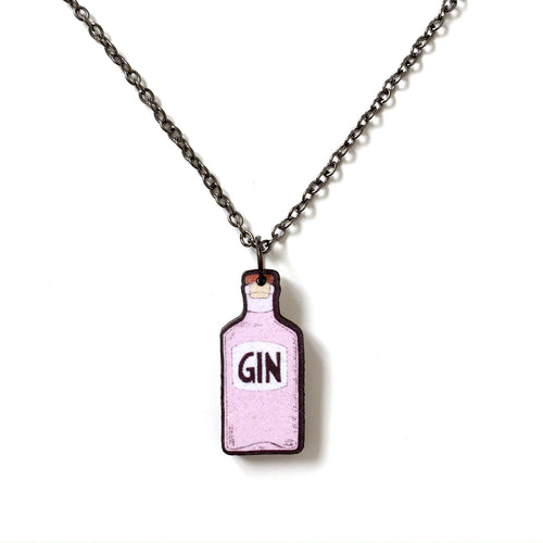 Pink gin bottle necklace - Gin lover gift