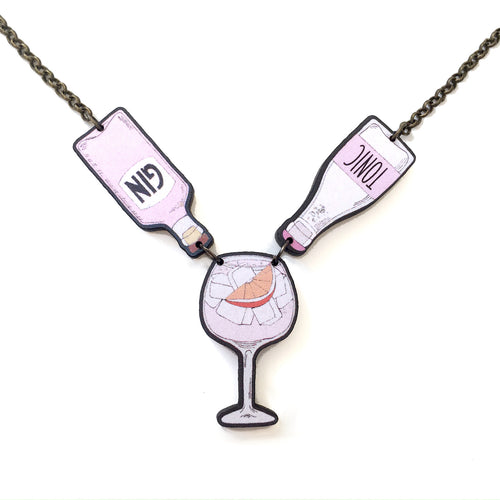Pink gin and tonic statement necklace