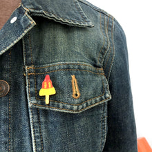 Load image into Gallery viewer, Rocket lolly ice cream wooden pin - Retro lapel pin