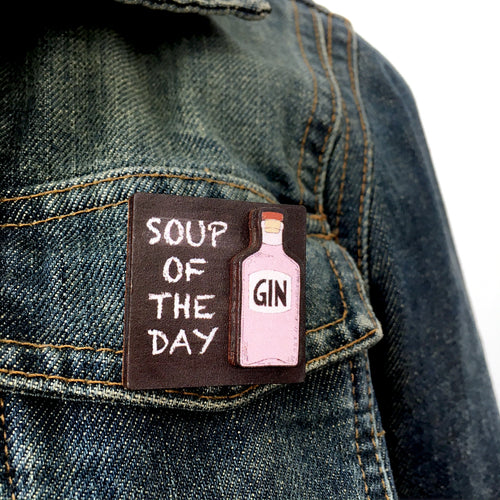 Quirky gin brooch - Gin lover gift
