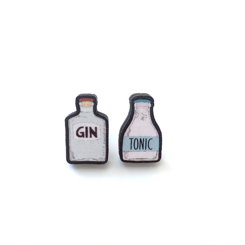 Gin and tonic mismatch stud earrings