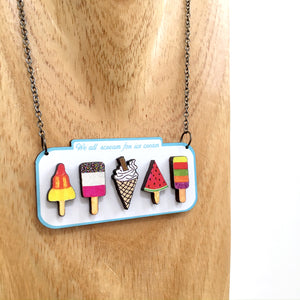 Ice cream lover sign statement necklace