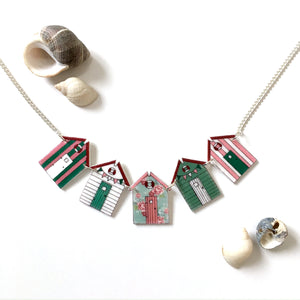 Floral beach hut bunting necklace - Summer jewellery