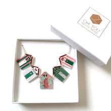 Load image into Gallery viewer, Floral beach hut bunting necklace - Summer jewellery